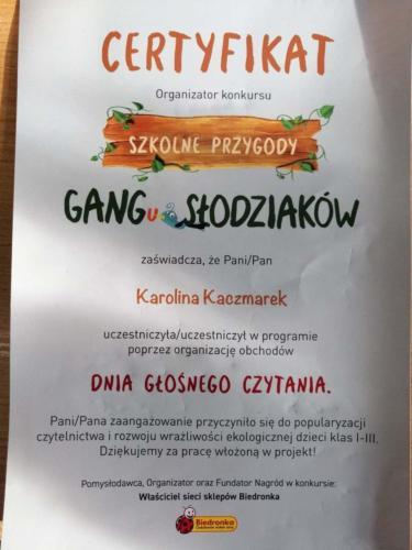 """Wyróżnienie w konkursie edukacyjnym """"Szkolne Przygody Gangu Słodziaków"""" 19/20"""